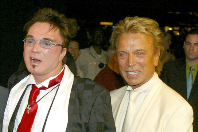 Siegfried Fischbacher (R), an illusionist and entertainer who performed with Roy Horn as Siegfried & Roy, died Wednesday after a battle with pancreatic cancer. File Photo by Roger Williams/UPI