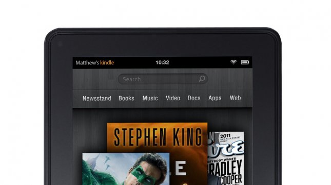 Amazon.com Inc.'s Kindle Fire e-reader offers a host of downloadable music, movies, TV shows, eBooks and apps. UPI/Amazon Inc./Handout Image