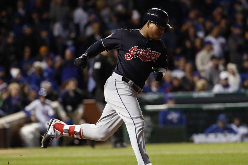Cleveland Indians third baseman Jose Ramirez rounds first base after a hit. File photo by Kamil Krzaczynski/UPI