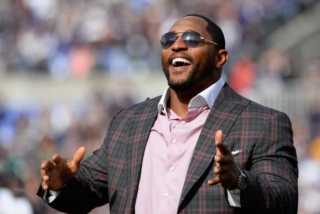 Baltimore Ravens standout and former player Ray Lewis is acknowledged  during a ceremony in the first half of their football game against the San  Diego ... b2af946e3
