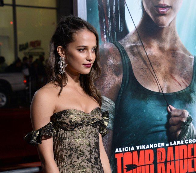 Alicia Vikander attends the Los Angeles premiere of Tomb Raider on Monday. Photo by Jim Ruymen/UPI