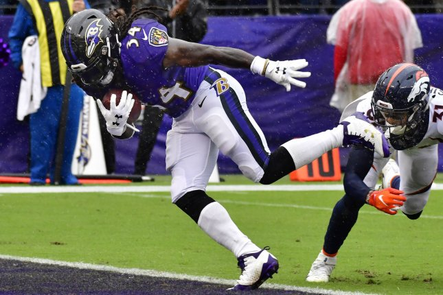 Baltimore Ravens running back Alex Collins (34) scores a six-yard touchdown past Denver Broncos defensive back Justin Simmons (31) during the first half on Sunday at M&T Bank Stadium in Baltimore. Photo by David Tulis/UPI