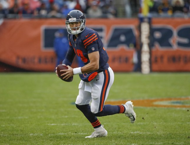 Chicago Bears quarterback Mitchell Trubisky looks downfield during a game against the New York Jets on Oct. 20, 2018. Photo by Kamil Krzaczynski/UPI