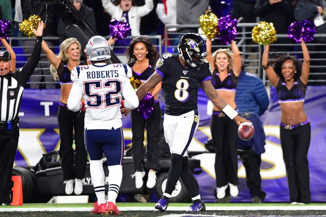 Baltimore Ravens quarterback Lamar Jackson (8) is in the NFL MVP conversation after rushing for 637 yards and five touchdowns and passing for 1,813 yards and 12 scores through eight games, leading his team to a 6-2 record. Photo by David Tulis/UPI