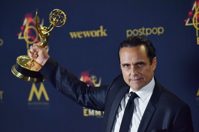 General Hospital star Maurice Benard holds up his Daytime Emmy for Outstanding Lead Actor in a Drama Series at the 46th Annual Daytime Emmy Awards on May 5. File Photo by Chris Chew/UPI