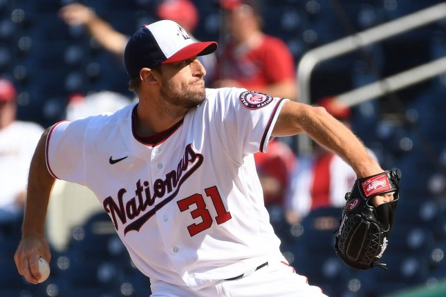 Washington Nationals starting pitcher Max Scherzer, shown April 5, 2021, threw the 12th complete game of his career Sunday against the Miami Marlins. File Photo by Pat Benic/UPI