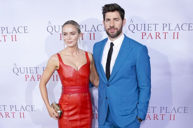 Emily Blunt (L) called A Quiet Place Part II, her new film with her husband, John Krasinski, a theatrical event on Jimmy Kimmel Live! FilePhoto by John Angelillo/UPI