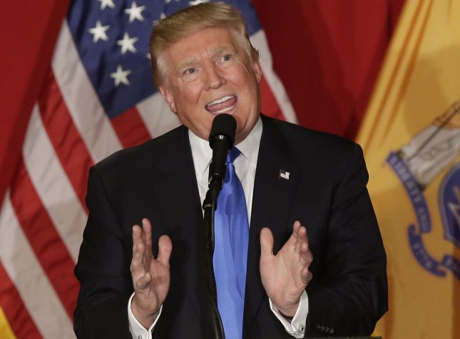Republican candidate for president Donald Trump's controversial comments could jeopardize his chances at hosting the British men's Open Championship at his remodeled golf course in Scotland. Photo by John Angelillo/UPI