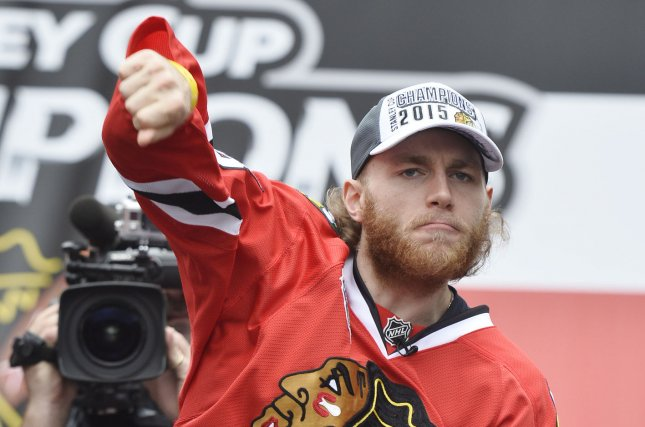 Chicago Blackhawks' Patrick Kane. Photo by Brian Kersey/UPI
