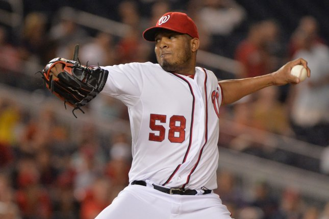 Former Washington Nationals pitcher Fernando Abad. UPI/Kevin Dietsch