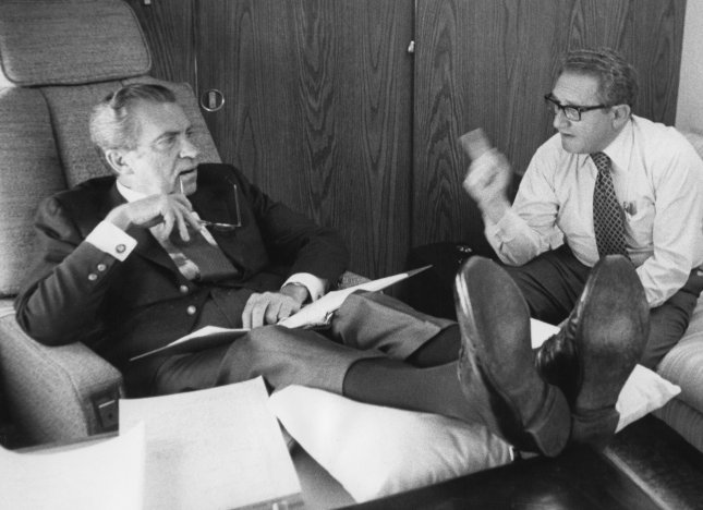 President Richard Nixon and Secretary of State Henry Kissinger confer aboard Air Force One as it heads toward Brussels, Belgium, on June 26, 1974. On May 22, 1972, Richard Nixon became the first U.S president to visit Moscow. During the trip, Nixon and Soviet leader Leonid Brezhnev signed the Strategic Arms Limitation Treaty, limiting the number of anti-ballistic missiles each country could possess. UPI File Photo