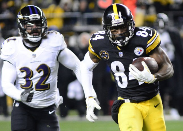 Pittsburgh Steelers receiver Antonio Brown (84) sprints past Baltimore Ravens free safety Eric Weddle during their game in Pittsburgh on Dec. 10. Photo by Archie Carpenter/UPI