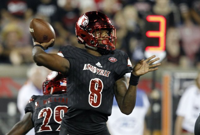 Former Louisville quarterback Lamar Jackson is said to be among the top NFL prospects taking part in the draft combine. Photo by John Sommers II/UPI