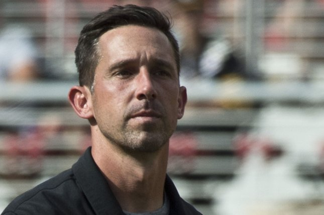 San Francisco 49ers coach Kyle Shanahan leaves the field after being defeated by the Carolina Panthers on September 10 at Levi's Stadium in Santa Clara, Calif. Photo by Terry Schmitt/UPI