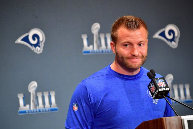 Los Angeles Rams coach Sean McVay and Arizona Cardinals coach Kliff Kingsbury are two of the youngest coaches in the NFL. Kingsbury joined the Cardinals this off-season, while McVay was hired in 2017. File Photo by Kevin Dietsch/UPI