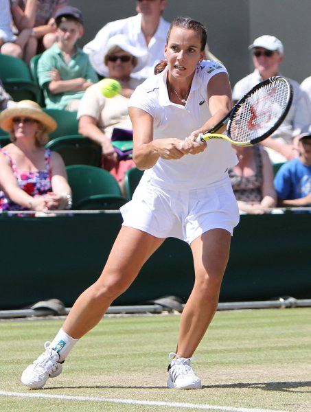 Jamila Groth, shown during a match in this year's Championships at Wimbledon, was a second-round winner Thursday at the WTA tournament in China UPI/Hugo Philpott