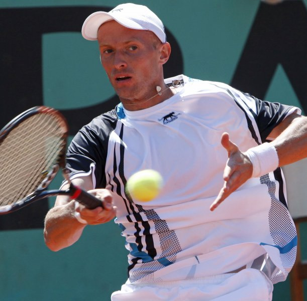 Nikolay Davydenko, a 7-6 (12-10), 6-3 winner Tuesday over Robert Kendrick at the Pilot Pen in New Haven, Conn., is pictured at the French Open, June 2, 2009. (UPI Photo/ David Silpa)