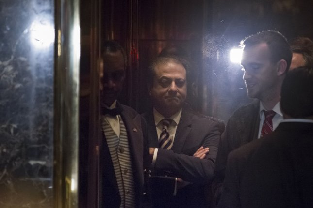 Preet Bharara, the former U.S. attorney for the Southern District of New York, said he was fired Saturday after he refused to resign when asked by the Justice Department. Bharara is seen here in November, when he met with then-President-elect Donald Trump, and both men agreed Bharara would remain in his position due to several high-profile investigations of New York politicians. File photo by Albin Lohr-Jones/UPI