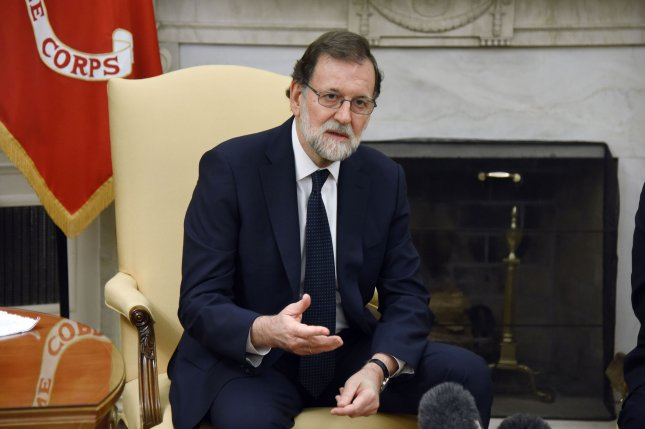 Prime Minister Mariano Rajoy of Spain speaks during meeting with U.S. President Donald Trump in the Oval Office of the White House during a meeting on September 26 in Washington, D.C. This weekend, Rajoy said he wouldn't rule out suspending Catalonia's autonomy over its push for independence. Photo by Olivier Douliery/UPI