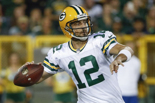 Green Bay Packers quarterback Aaron Rodgers looks to pass the ball against the Chicago Bears during the first half at Lambeau Field in Green Bay on September 28, 2017. Photo by Kamil Krzaczynski/UPI