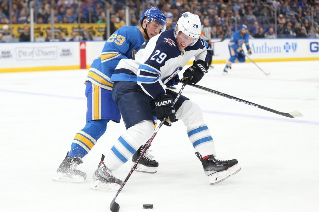 Patrik Laine and the Winnipeg Jets face the Pittsburgh Penguins on Tuesday. Photo by Bill Greenblatt/UPI