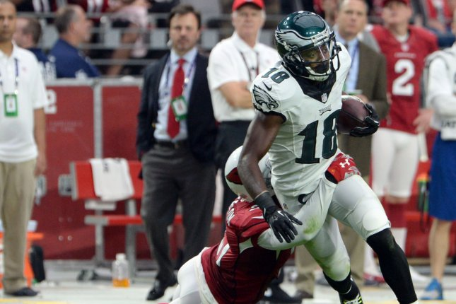 Former Philadelphia Eagles wide receiver Jeremy Maclin (R) had 514 receptions, 6,835 yards and 49 touchdowns in his professional career. File Photo by Art Foxall/UPI