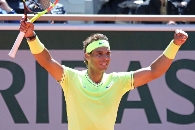 Rafael Nadal can win his third consecutive title at Roland-Garros if he wins the 2019 French Open men's final Sunday in Paris. Photo by David Silpa/UPI