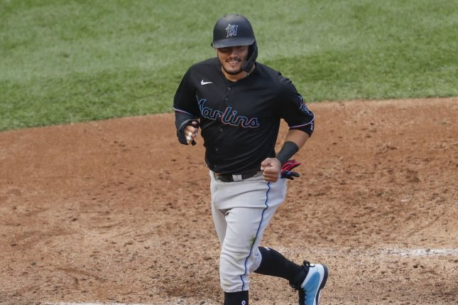Miami Marlins infielder Miguel Rojas, who tested positive for COVID-19 last season, said his time away gave him a renewed appreciation for the game of baseball. File Photo by Kamil Krzaczynski/UPI