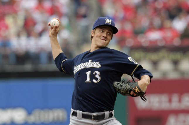 Milwaukee Brewers pitcher Zack Greinke at Busch Stadium in St. Louis, April 29, 2012. Multiple reports indicated Friday the Brewers have traded Greinke to the Los Angeles Angels. UPI/Bill Greenblatt
