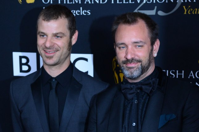 South Park creators Matt Stone and Trey Parker arrive at the BAFTA LA Britannia Awards presented by BBC America on November 7, 2012. Stone and Parker take fans behind-the-scences of their next game, South Park: The Fractured But Whole in a new video. File Photo by Jim Ruymen/UPI