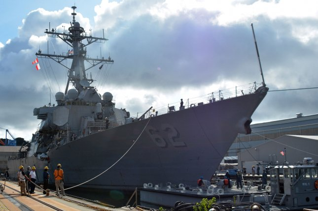 The Arleigh Burke-class guided-missile destroyer USS Fitzgerald (DDG 62) moves into Dry Dock 4 at Fleet Activities (FLEACT) Yokosuka on July 11, 2017. File Photo by MC1 Peter Burghart/U.S. Navy/UPI