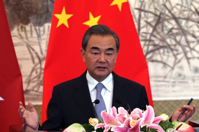 China's Foreign Minister Wang Yi said sanctions are a part of the solution to persuade North Korea to turn away from nuclear weapons development. Photo by Stephen Shaver/UPI
