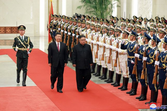 China is closely watching developments on the Korean Peninsula, following multiple summits between Chinese President Xi Jinping (L) and Kim Jong Un (R). Photo by KCNA/UPI