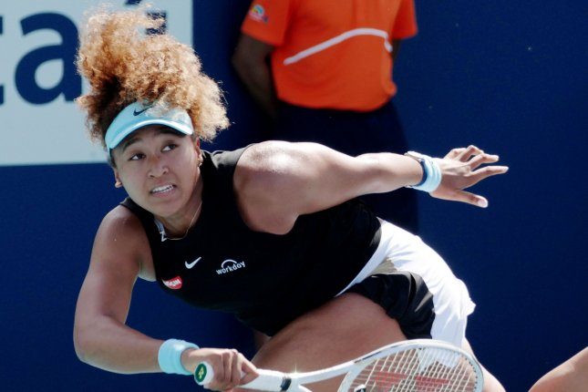 Naomi Osaka from Japan, shown March 29, 2021, withdrew from the French Open in late May after declining to participate in mandatory media appearances. File Photo by Gary I Rothstein/UPI