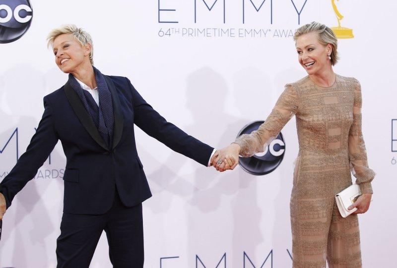 Actors Ellen DeGeneres and Portia de Rossi arrive for the the 64th Primetime Emmys at the Nokia Theatre in Los Angeles on September 23, 2012. UPI/Danny Moloshok