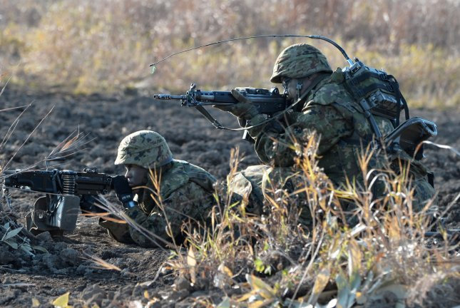 A U.S. Army Stryker Brigade combat team joins Japan's ground self-defense force in the military exercise Orient Shield 14 at Hokkaido on Oct. 30, 2014. UPI/Keizo Mori