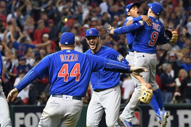 Chicago Cubs teammate celebrate after the final out in the 2016 MLB World Series in which the Cubs ended a 108-year title drought after defeating the Cleveland Indians in Game 7. File Photo by Pat Benic/UPI