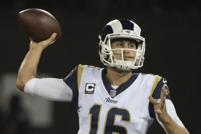 Los Angeles Rams QB Jared Goff throws a pass against the Oakland Raiders in the third quarter at the Coliseum in Oakland, California on Monday, September 10, 2018. The Rams defeated the Raiders 33-13. Photo by Terry Schmitt/UPI