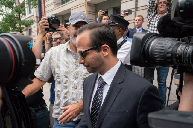 George Papadopoulos departs after his sentencing at the U.S. District Court House in Washington, D.C., on September 7. On Sunday, the judge turned down two motions and ordered him to begin his two-week jail sentence Monday. Photo by Ken Cedeno/UPI
