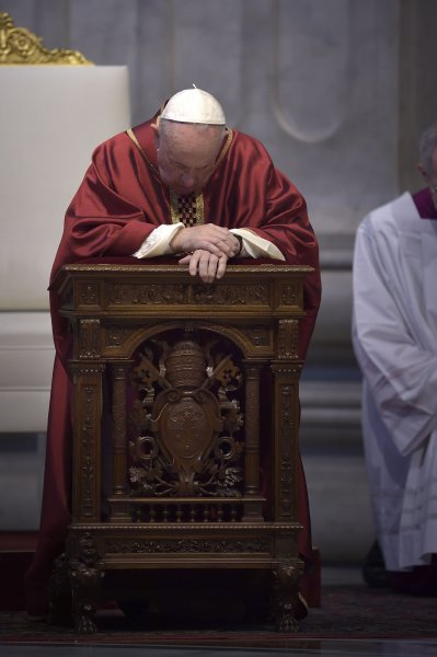 Pope Francis celebrates the ceremony of the Good Friday Passion of the Lord Mass in St. Peter's Basilica at the Vatican on Friday. Photo by Stefano Spaziani/UPI