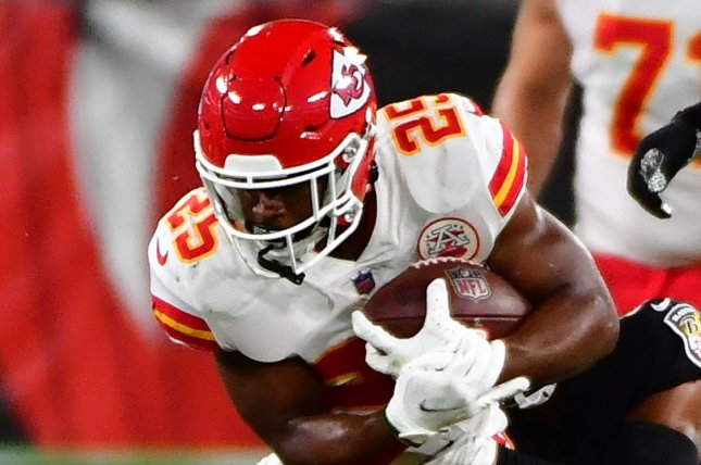 Kansas City Chiefs running back Clyde Edwards-Helaire (25) has 433 yards from scrimmage and one score this season, and he is my top running back for Week 5. File Photo by David Tulis/UPI