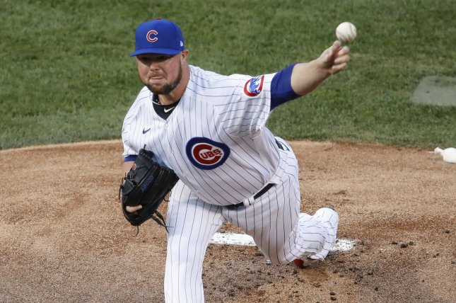 Washington Nationals starting pitcher Jon Lester, who signed with the team this off-season in free agency, is expected to miss at least a week as he recovers from surgery to remove a thyroid gland. File Photo by Kamil Krzaczynski/UPI