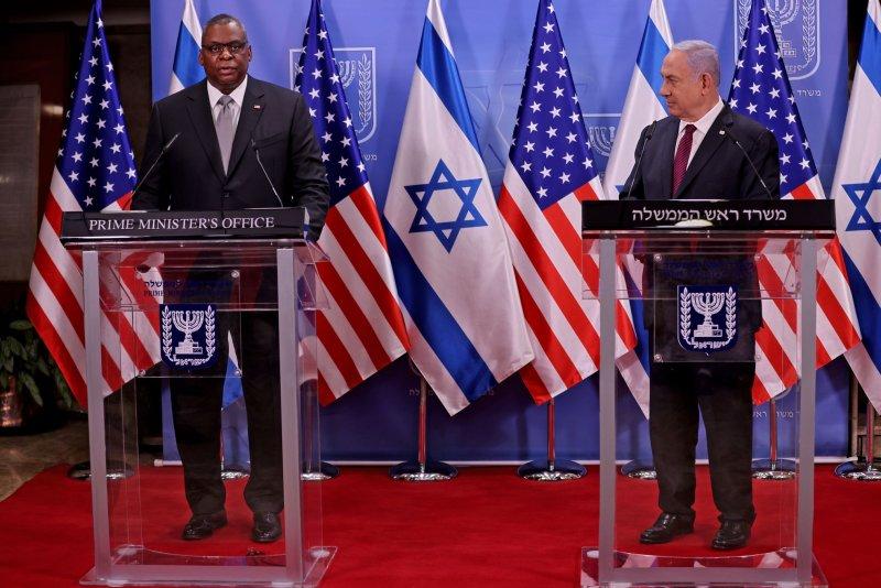 U.S. Defense Secretary Lloyd Austin and Israeli Prime Minister Benjamin Netanyahu give a joint news conference on Monday after a meeting in Jerusalem, Israel. Photo by Menahem Kahana/UPI/Pool