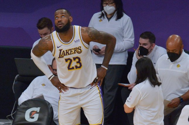 Los Angeles Lakers star LeBron James (23), shown March 20, 2021, aggravated the ankle injury during the fourth quarter of Sunday's loss to the Toronto Raptors. File Photo by Jim Ruymen/UPI