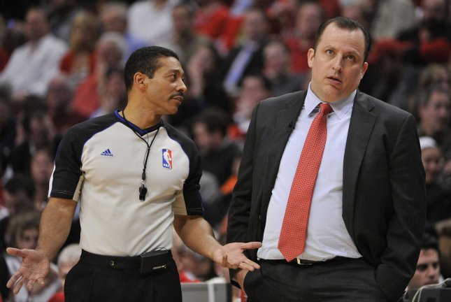 NBA Referee Bill Kennedy announced he is gay two weeks after Sacramento Kings player Rajon Rondo yelled a gay slur at him. Kennedy is shown here in 2011 with Chicago Bulls head coach Tom Thibodeau. UPI/Brian Kersey