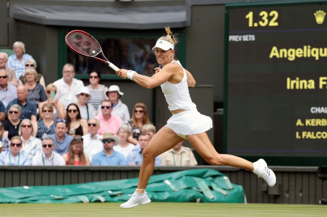 Germany's Angelique Kerber plays a forehand in her match against American Irina Falconi on day Two of the 2017 Wimbledon championships, London on July 4, 2017. Photo by Hugo Philpott/UPI