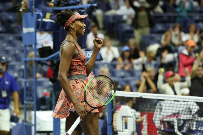 Venus Williams (USA) celebrates her win over Carla Suarez Navarro of Spain in three sets of their fourth-round match at the US Open Tennis Championships at the USTA Billie Jean King National Tennis Center in New York City on September 3, 2017. Williams won 6-3, 3-6, 6-1. Photo by Monika Graff/UPI