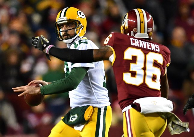 Washington Redskins linebacker Su'a Cravens pressures Green Bay Packers quarterback Aaron Rodgers during a game last season. UPI file photo