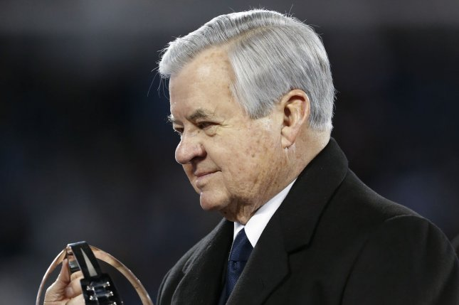 Carolina Panthers current majority owner Jerry Richardson holds the NFC Championship trophy after the Panthers defeated the Arizona Cardinals on January 24, 2016 at Bank of America Stadium in Charlotte, North Carolina. File photo by Brian Westerholt/UPI