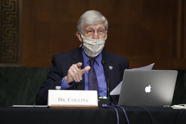 National Institutes of Health Director Dr. Francis Collins makes opening remarks Thursday during a hearing before the Senate Committee on Health, Education, Labor and Pensions. Pool Photo by Andrew Harnik/UPI